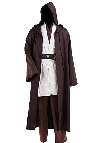 Fancycosplay Jedi Robe Cosplay Costume Set Brown with White Outfit Halloween with Belt and Pocket (XXL) -