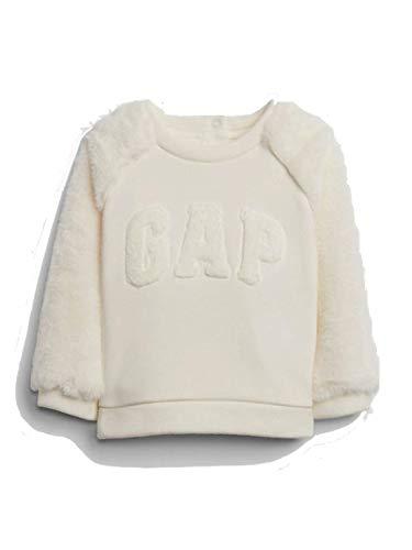 Gap Baby Girl Sweatshirt (Logo Faux-Fur Ivory Frost, 18-24 M)