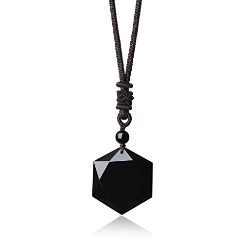 COAI Semi Precious Stones Religious Star of David Obsidian Healing Pendant Adjustable Cord
