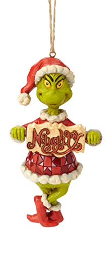 Enesco Dr. Seuss The Grinch by Jim Shore Naughty and Nice Sign Hanging Ornament, 4.72