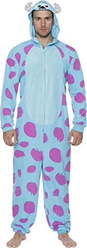Cheap Sully Costume (Disney Monsters Inc. Men's Sulley Cos Play One Piece Pajama Union Suit, Blue, Size)
