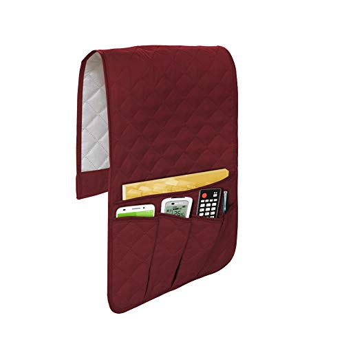 Godery Non-Slip Sofa Couch Armrest Organizer, TV Remote Control Holder, Armchair Caddy for Phone, Books, Magazines (Wine red)