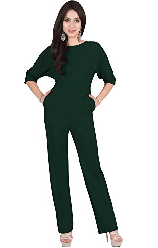Viris Zamara Plus Size Womens Long Round Neck Batwing Short Sleeve Sexy Formal Cocktail Casual One Piece Pockets Dressy Pant Suit Suits Outfit Playsuit Romper Jumpsuit, Dark Green XL 14-16