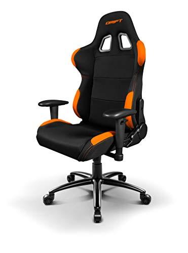 Drift DR100BO - Silla Gaming Profesional, (Tela Alta Calidad, Ergonomica), Color Negro/Naranja