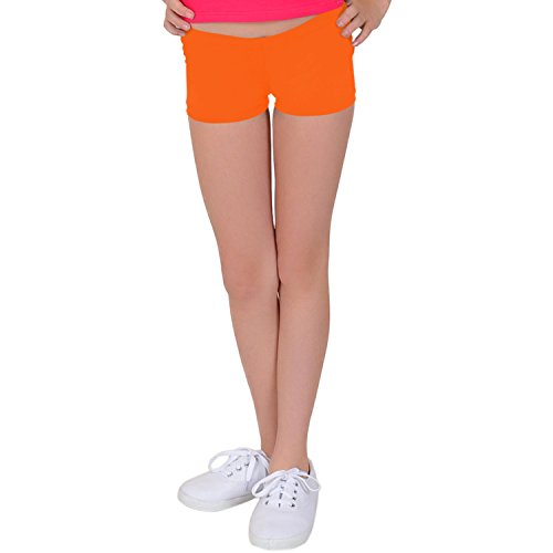 Stretch is Comfort Girl's NYLON SPANDEX Booty Shorts Neon Orange Large by Stretch is Comfort