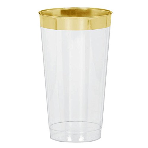 Amscan Reusable Party Tumblers Clear with Gold Trim Premium Tableware, Plastic, 16 Ounces, Pack of 16 Supplies (96 Piece) (Trim Plastic Piece)
