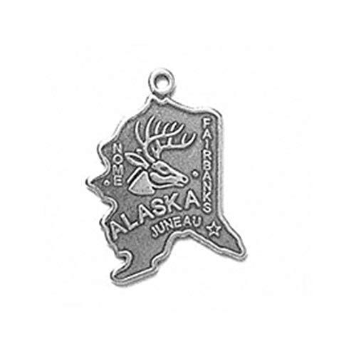 - 925 Sterling Silver Alaska State Us America Ak Juneau Charm For Bracelet/Necklace