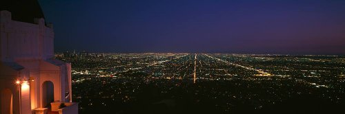 Walls 360 Peel & Stick Wall Mural: Night View from Griffith Park Observatory (48 in x 16 ()