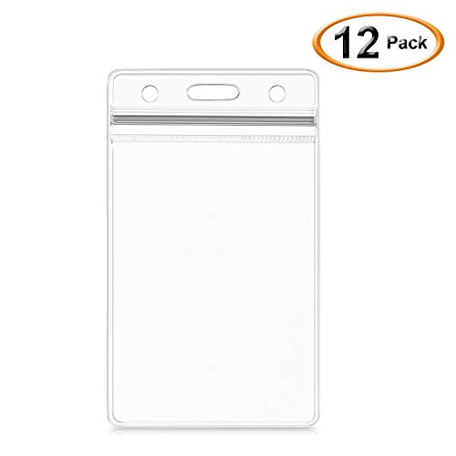 SummerHouse 12 Pack Transparent Clear Plastic Nametags ID Badge Holder - Resealable, Waterproof, 3 Pre-Punched hole and Zipper - Fits 2.4x3.6'' VERTICAL Card Insert