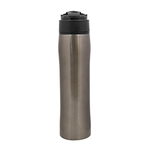 Travel French Press Coffee Maker, Vacuum Insulated Stainless Steel Mug, Travel Tea Press Maker, Portable Coffee Press (Silver)