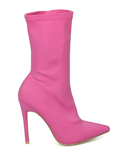 Alrisco Femme Tissu Stretch Mi-mollet Bout Pointu Chaussette Stiletto - Hf44 Par Collection Show Top Lycra Rose Vif