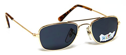 Baby Pilot Aviator Sunglasses Age 0 - 12 Months Rectangular Gold Metal - Sunglasses Touch