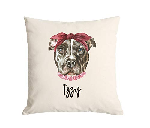 Qualtry Personalized Watercolor Dog Throw Pillow Cover 18 x 18- Decorative Pillow Case, Unique Gift for Dog Lovers (Izzy Design)