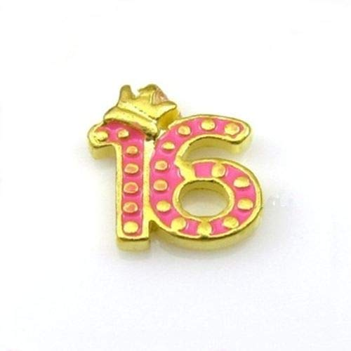 Pendant Jewelry Making Sweet 16 with Crown Pink Enamel Gold Floating Charm for Memory Lockets 1pc
