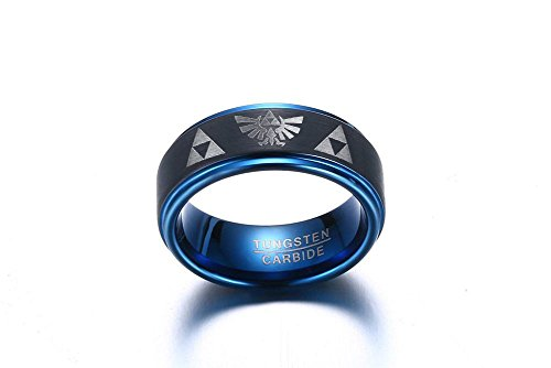 Tungsten Carbide Two-tone Blue Black Step Edge Legend of Zelda Triforce Ring Bands for Men Boy,size 7 by Mealguet Jewelry (Image #3)