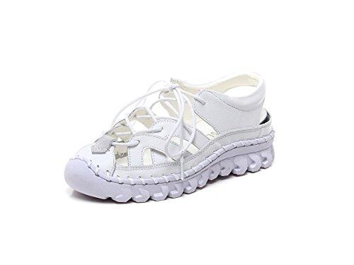 Deportes Respirable 35 Mujeres Hechos Blanco 40 Casuales Zapatos Sandalias Cómodas Las de Tamaño de Mano Sandalias Cuero de a Blanco Verano Negro xBwqgOtY