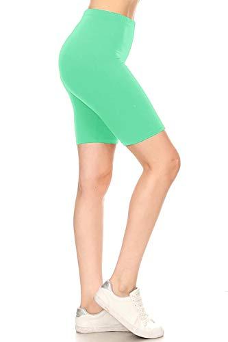 (Leggings Depot LBKX128-MINT-1X High Waisted Solid Biker Shorts, 1X Plus)