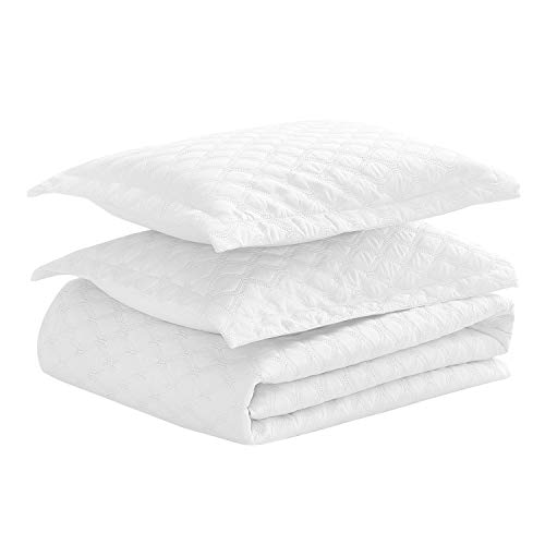 Basic Choice 3-piece Oversized Quilted Bedspread Coverlet Set - White, Full/Queen