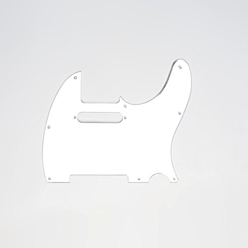 Musiclily Tele Pickguard Scratch Plate Pick Guards for US/Mexico Made Fender Standard Telecaster Modern Style Electric Guitar,1Ply Silver Mirror - Repair Mirror Scratch