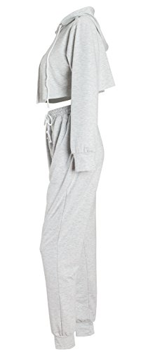 WorkTd Women's Crop Top Hoodie Pant 2 Pcs Sweatsuit Set Sports Outfit Grey M by WorkTd (Image #3)