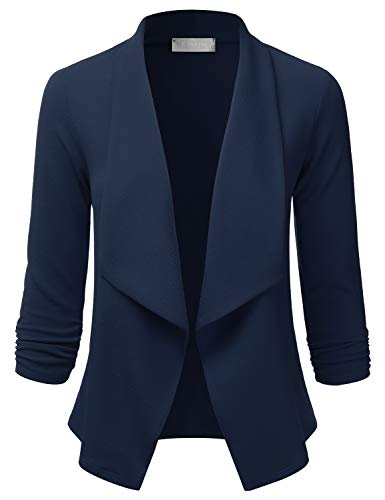 - EIMIN Women's Lightweight Stretch 3/4 Sleeve Blazer Open Front Jacket Navy 2XL