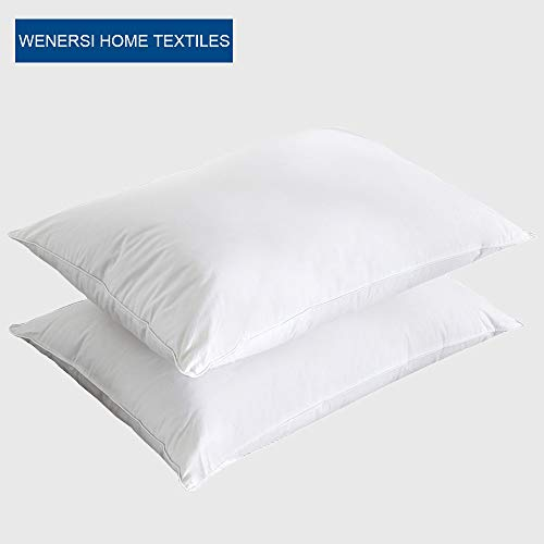 WENERSI Luxury Goose Down Pillows with downlike Blended(2-Pack,Queen Soft),100% Egyptian Cotton Cover,1200TC,Hypoallergenic,Bed Pillows for Sleeping