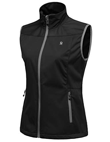 Little Donkey Andy Women's Lightweight Softshell Vest, Windproof Sleeveless Jacket for Running Hiking Travel
