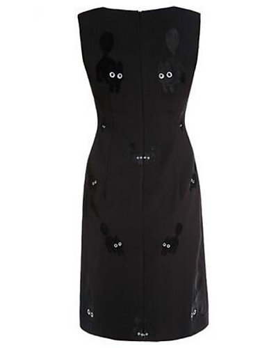 PU&PU Robe Aux femmes Trapèze Street Chic,Motif Animal Col Arrondi Midi Polyester , black-l , black-l