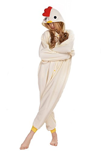 NEWCOSPLAY Adult Unisex White Chicken Onesie Pajama Costume