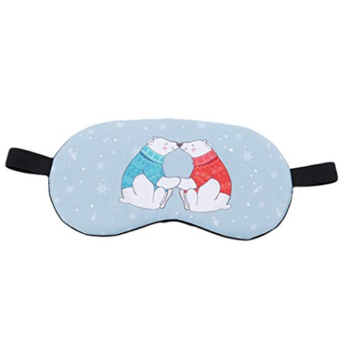 LZIYAN Cartoon Sleep Eye Mask Breathable Cute Animal Pattern Sleeping Mask Travel Sleeping Blindfold Nap Cover Gift For Everyone,Two bears by LZIYAN (Image #1)