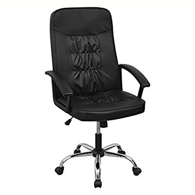 """HomyDelight Office Chair, Office Chair Artificial Leather 26.4""""x27.6"""" Black"""