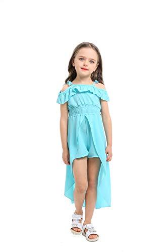 NoNoAnt Kids Girls Summer Sling Sweet Floral Dress Elegant Girl Princess Ruffles Irregular Culotte Dresses 3-8 Year (Blue, ()