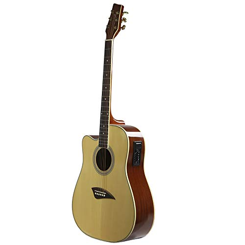(Kona K1EL Left-Handed Acoustic Electric Dreadnought Cutaway Guitar in Natural High Gloss Finish)