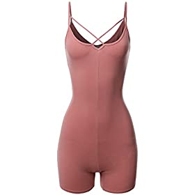 Made By Emma Front Cross Strap Cami Jersey Cotton Spandex Bodysuit Dusty Pink M