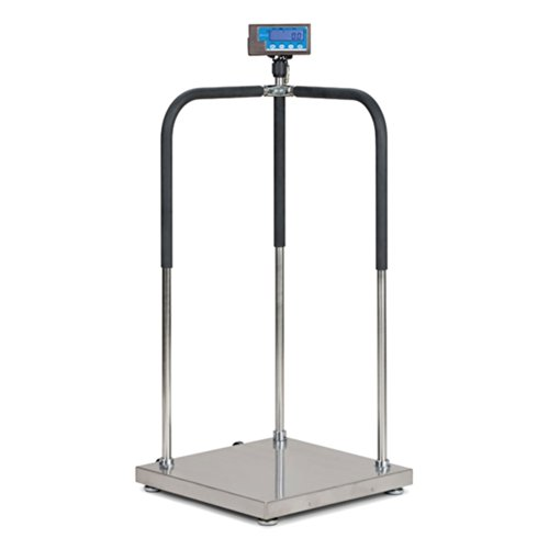 Brecknell MS140-300 Portable Medical Digital Handrail Scale up to 660 lb. Capacity, Integrated Wheels, Standing Doctor Physician Scale