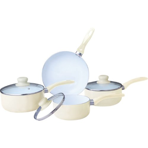 7PC CERAMIC COOKWARE SET SAUCEPAN POT GLASS LID KITCHEN FRY PAN FRYING NON STICK (7PC CERAMIC COATED CREAM)