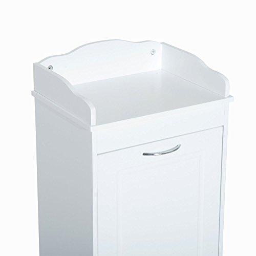 New White Bathroom Hamper Wood Laundry Tilt Out Basket Storage Bench Furniture Cabinet by totoshop (Image #3)