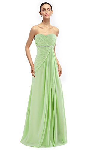 COCOMELODY Women's A Line Long Beaded Pleated Graduation Dress Green 16