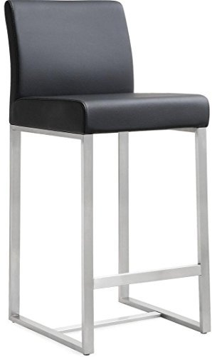 Tov Furniture The Denmark Collection Stainless Steel Metal Leather Upholstered Industrial Modern Counter Stool with Back, Black, Set of 2 from Tov Furniture