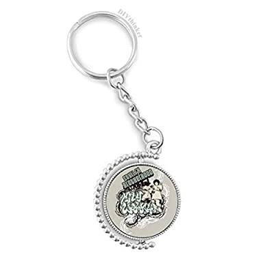 Graffiti Street Culture Boy Stylish Brotherhood Rotatable Key Chain Ring Keyholder