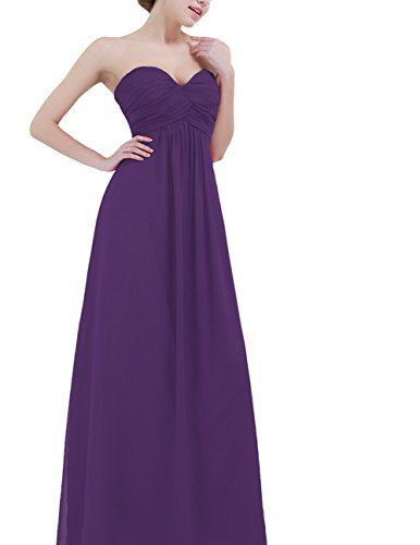 (YiZYiF Sweetheart Bridesmaid Chiffon Prom Dresses Strapless Long Evening Gowns Purple 16)