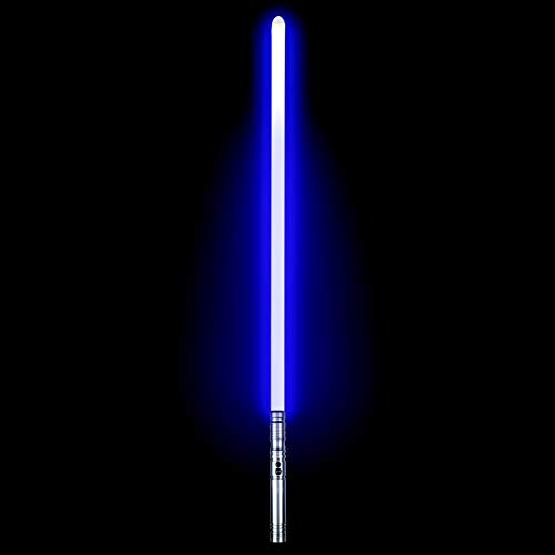 Duel Light Saber - Metal Aluminum Hilt Force FX Lightsaber with 6 Sound Fonts LED Rechargeable Light Sabers for Adults and Kids (Silver)