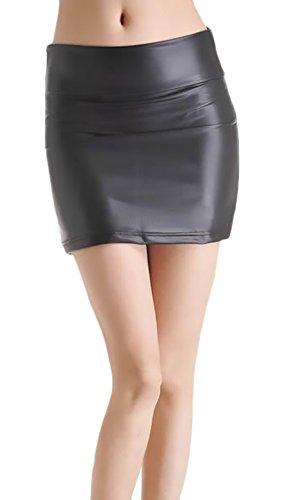 Estiva Eleganti Sintetica Fashion Waist Donna Gonna Dell'anca Del Minigonna Pacchetto Prodotto Corto Plus Gonne High Monocromo Pelle Nero Skinny qt4aWxXZ