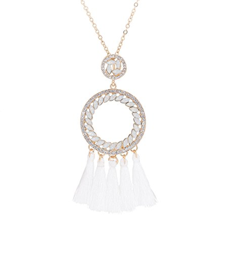 Circle Pendant Necklace Jewelry - PHALIN JEWELRY Bohemian Tassel Crystal Circle Pendant Necklace with Long Lariat for Women