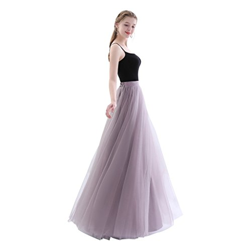 - Future Girl Women's Maxi Skirts High Waist Holiday Formal Skirt (M, Gray Purple)