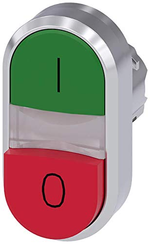 Siemens 3SU10513BB420AK0 Illuminated Twin Pushbutton, Green, Red, Plastic & Metal, IP66, IP67, IP69K Protection Rating, Shiny Metal, 22mm, Green/Red