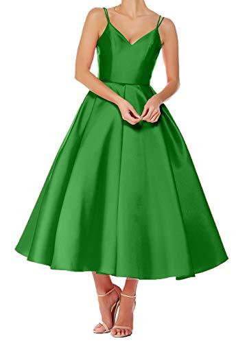 Brautjungfernkleider Abendkleider Kurz Charmant Damen Rock A Ballkleider V Wadenlang Grün Ausschnitt Festlichkleider Linie TTpxYSq