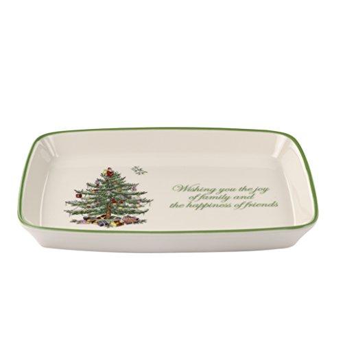 Spode Christmas Tree Rectangular Sentiment Tray (Christmas Tree Platter Spode Rectangular)