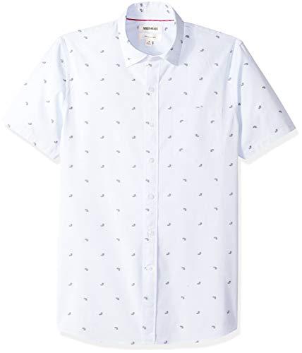 Goodthreads Men's Slim-Fit Short-Sleeve Dobby Shirt, -light blue paisley, X-Small