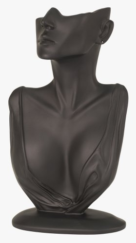 (KC Store Fixtures 49154 Jewelry Display, Bust with Partial Face for Necklace and Earrings, Black, 12 1/4 Inches High)